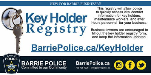Barrie Police Service launches Key Holder Registry