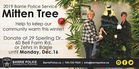 The Barrie Police Service launches 2019 Mitten Tree