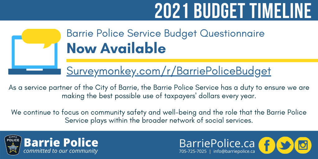 2021 Barrie Police Service Budget Questionnaire now available