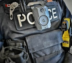 Image of a body-worn camera on an officer's uniform