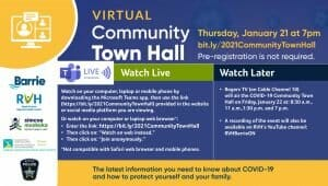 Graphic Explaining how to view COVID Town Hall meeting. Please call 705-728-9090 ext. 41610