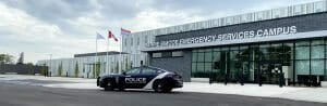 Barrie Police cruiser parked in front of Barrie Simcoe Emergency Services Campus