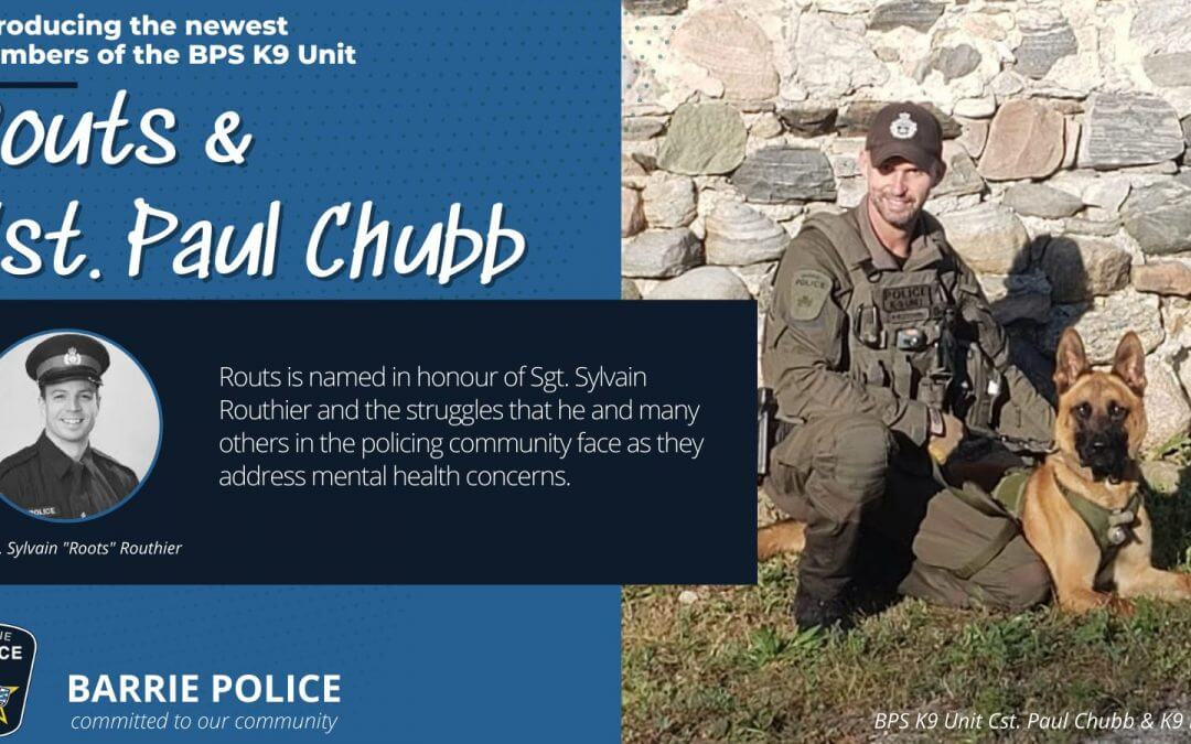 Barrie Police welcome newest K9 member, named in honour of OPP Sgt. Routhier